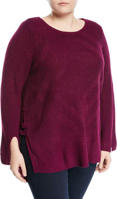 Neiman Marcus Plus Side-Slit Pullover Sweater, Plus Size