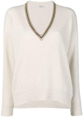 Brunello Cucinelli V-neck ribbed knit sweater