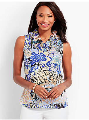 Talbots Pleated-Neck Shell - Floral