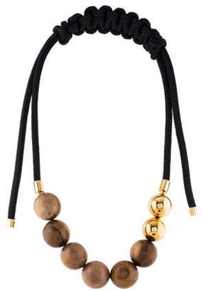 Marni Wood & Rope Collar Necklace Gold Wood & Rope Collar Necklace