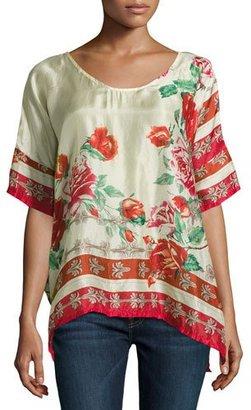 Johnny Was Secret Garden Floral Silk Georgette Top, Red Pattern, Plus Size $210 thestylecure.com