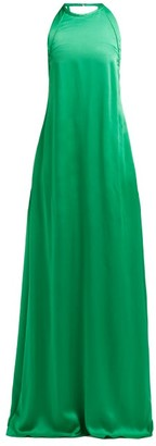 Rochas Enver Bow Embellished Satin Gown - Womens - Green