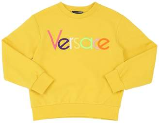 Versace Logo Embroidered Cotton Sweatshirt