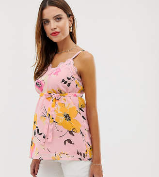 Mama Licious Mama.Licious Mamalicious maternity floral printed lace cami top