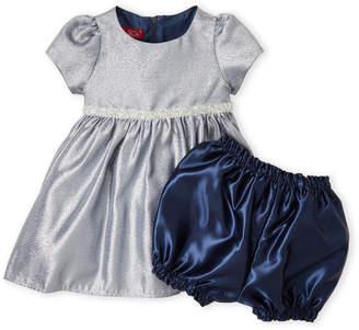 Baby Essentials Princess Faith (Infant Girls) Two-Piece Metallic Navy Dress & Bloomers Set