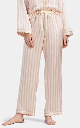 Morgan Lane Women's Chantal Striped Silk Pajama Pants - Light, Pastel pink