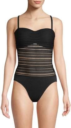 Robin Piccone Perla One-Piece Textured Lace Swimsuit