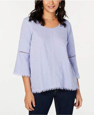 Style&Co. Style & Co Crochet-Trim Swing Top