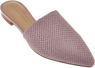 Halston H By H by Pointed Toe Snake Embossed Leather Slide - Alina
