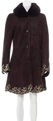 Andrew Elissee Embroidered Shearling Coat
