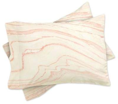 Rebecca Allen Blush Marble Standard Pillow cases in Pink (Set of 2)