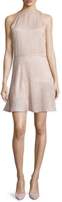 Halston Sleeveless Embellished Fit-&-Flare Dress, Buff