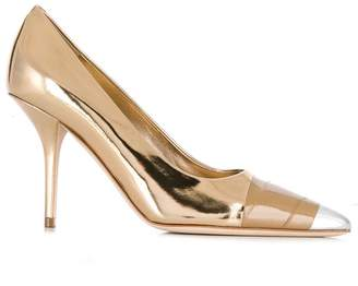 Burberry tape detail mirrored leather pumps