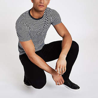 River Island Black vertical stripe muscle fit T-shirt