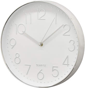 Three Hands Corp Silver-Tone & White Wall Clock
