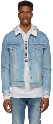 Balmain Blue Denim Sherpa Jacket