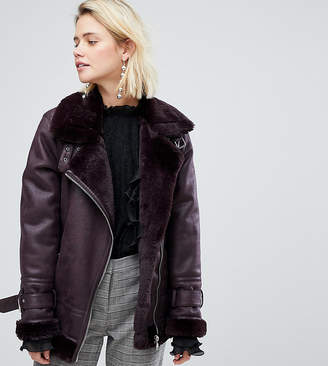 Warehouse Faux Leather Look Aviator Jacket