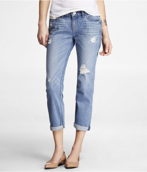 Express Ankle Rolled Destroyed Boyfriend Jean