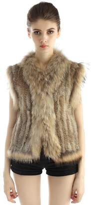 Bellefur Real Knitted Rabbit Ladies Fur Jacket Vests with Raccoon Fur Trim Size S Nature