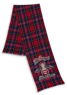Gucci Plaid Wool Bee Scarf