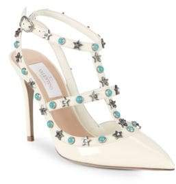 Valentino Rockstud Patent Leather Slingback Pumps