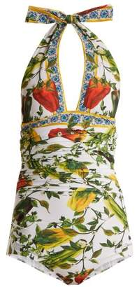 Dolce & Gabbana Halterneck Ruched Floral Print Swimsuit - Womens - Green Print