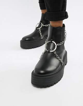 Public Desire Locked black chain detail chunky boots