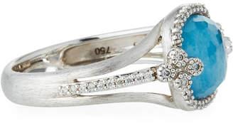 Jude Frances 18K White Gold Provence Triplet Cushion & Diamond Ring, Size 6.5