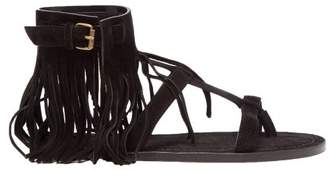 Saint Laurent Nino Suede Fringed T Bar Sandals - Womens - Black