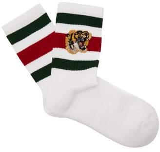 Gucci - Embroidered Tiger Striped Socks - Mens - White