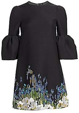 Valentino Women's Garden Pailette Flutter Sleeve Dress