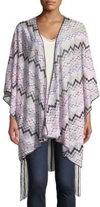 Missoni Knitted Wrap w/ Long Fringe Trim