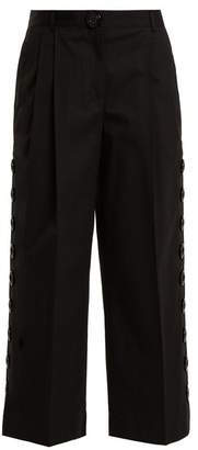 Dolce & Gabbana Button Embellished Cropped Trousers - Womens - Black