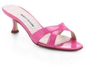 Manolo Blahnik Patent Leather Crisscross Mules