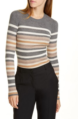Theory Stripe Ribbed Crewneck Cashmere Sweater