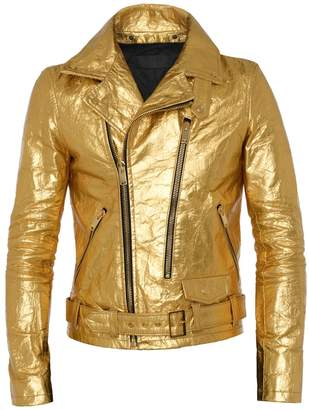 ALTIIR - Men's Neo-Classic Biker Jacket In Gold
