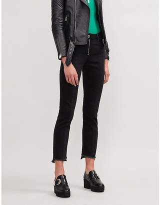 Maje Parlo zip-front stepped-hem jeans