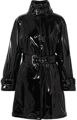 Moschino Belted Vinyl Trench Coat - Black
