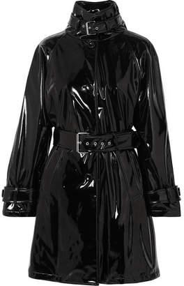 Moschino Belted Vinyl Trench Coat - Black