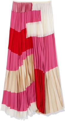 Marni Pleated Silk-Blend Skirt
