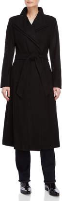 Kenneth Cole New York Wool Tie Waist Long Coat