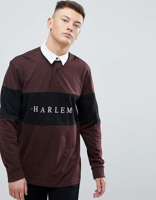 New Look Harlem Rugby Polo In Burgundy