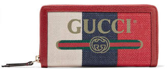 Gucci Linea Merida Textured Leather-trimmed Printed Canvas Wallet