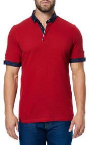 Paisley-Trim Polo Shirt Red