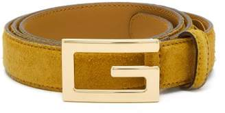 Gucci - Logo Buckle Suede Belt - Mens - Tan