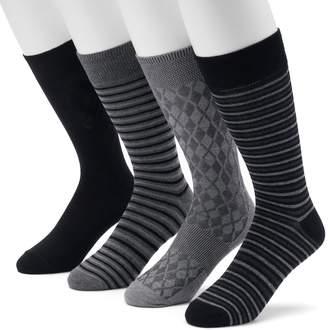 Croft & Barrow Men's 4-pack Striped & Solid Crew Socks