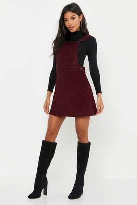 boohoo Button Front Cord Pinafore Dress