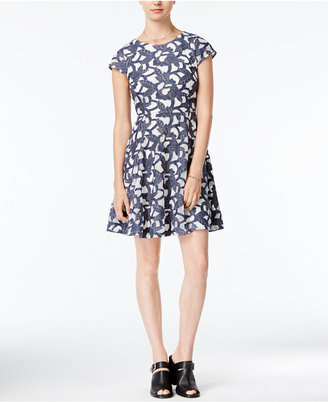 Maison Jules Denim Lace Fit & Flare Dress, Only at Macy's $99.50 thestylecure.com
