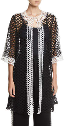 Naeem Khan 3/4-Sleeve Open-Front Lace Coat