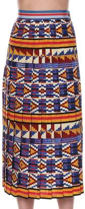 Stella Jean pleated skirt in kente multi (2)